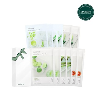 Combo 12 Mặt nạ giấy dưỡng ẩm phục hồi da innisfree My Real Squeeze Mask 20ml/ Miếng