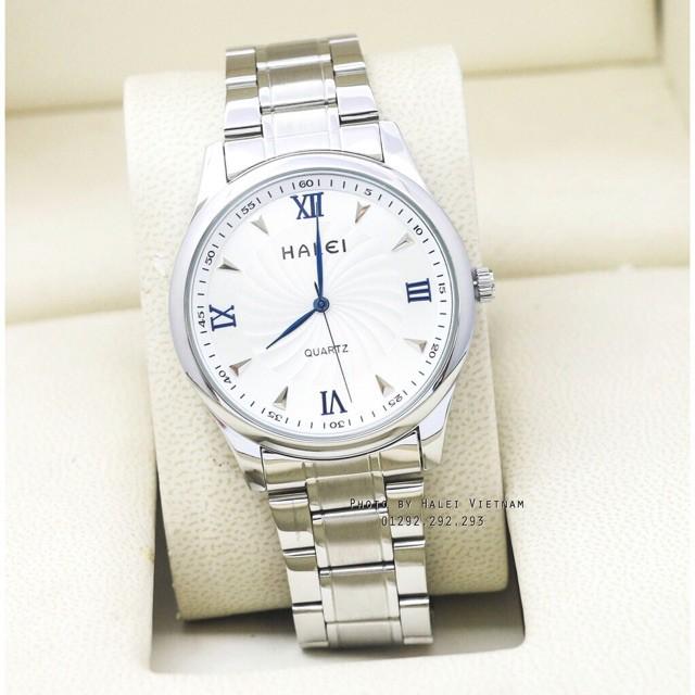 (Tặng kèm hộp và pin)Đồng hồ Nam Halei dây màu bạc phong cách