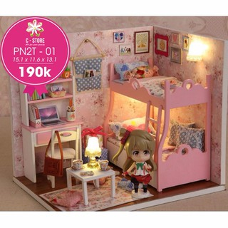 [Deal 9k 29/4] Tự lắp ghép nhà búp bê – phòng ngủ bé gái