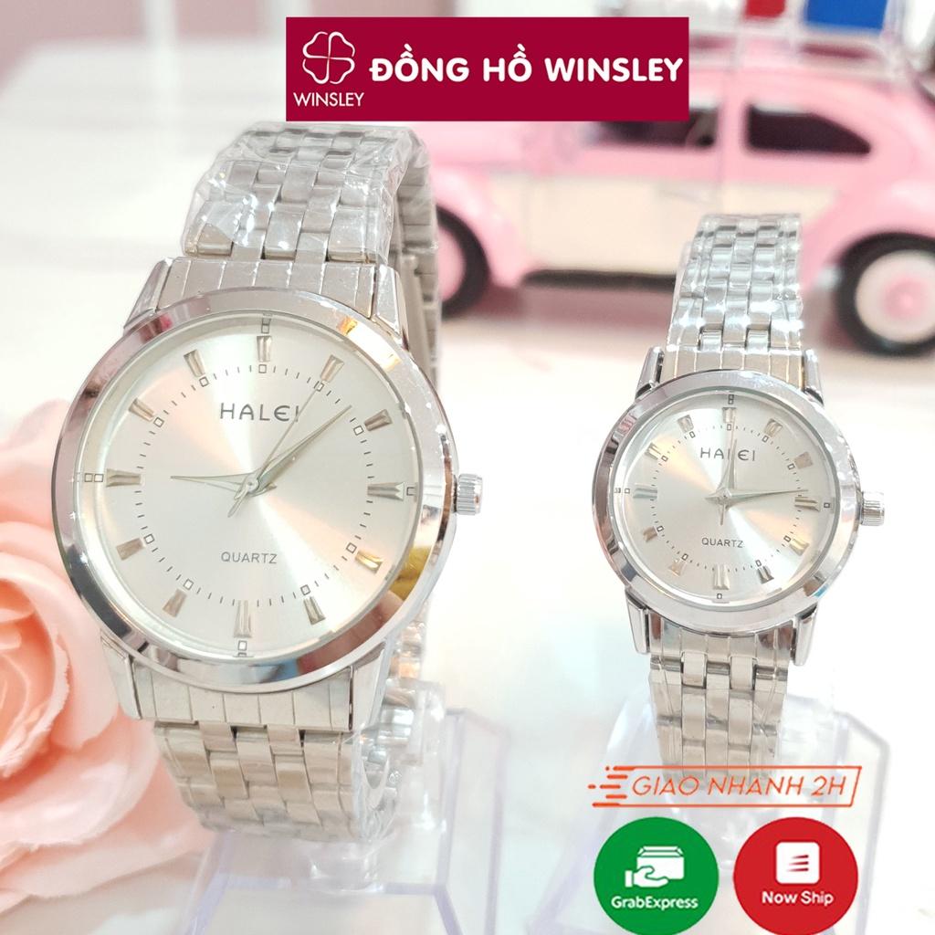 Đồng hồ đôi nam nữ đeo tay cặp chính hãng Halei dây kim loại đẹp vàng giá rẻ thời trang