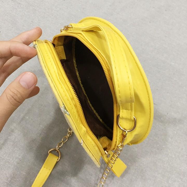 Túi đeo chéo nữ hộp tròn thêu hoa siêu xinh -TXN47