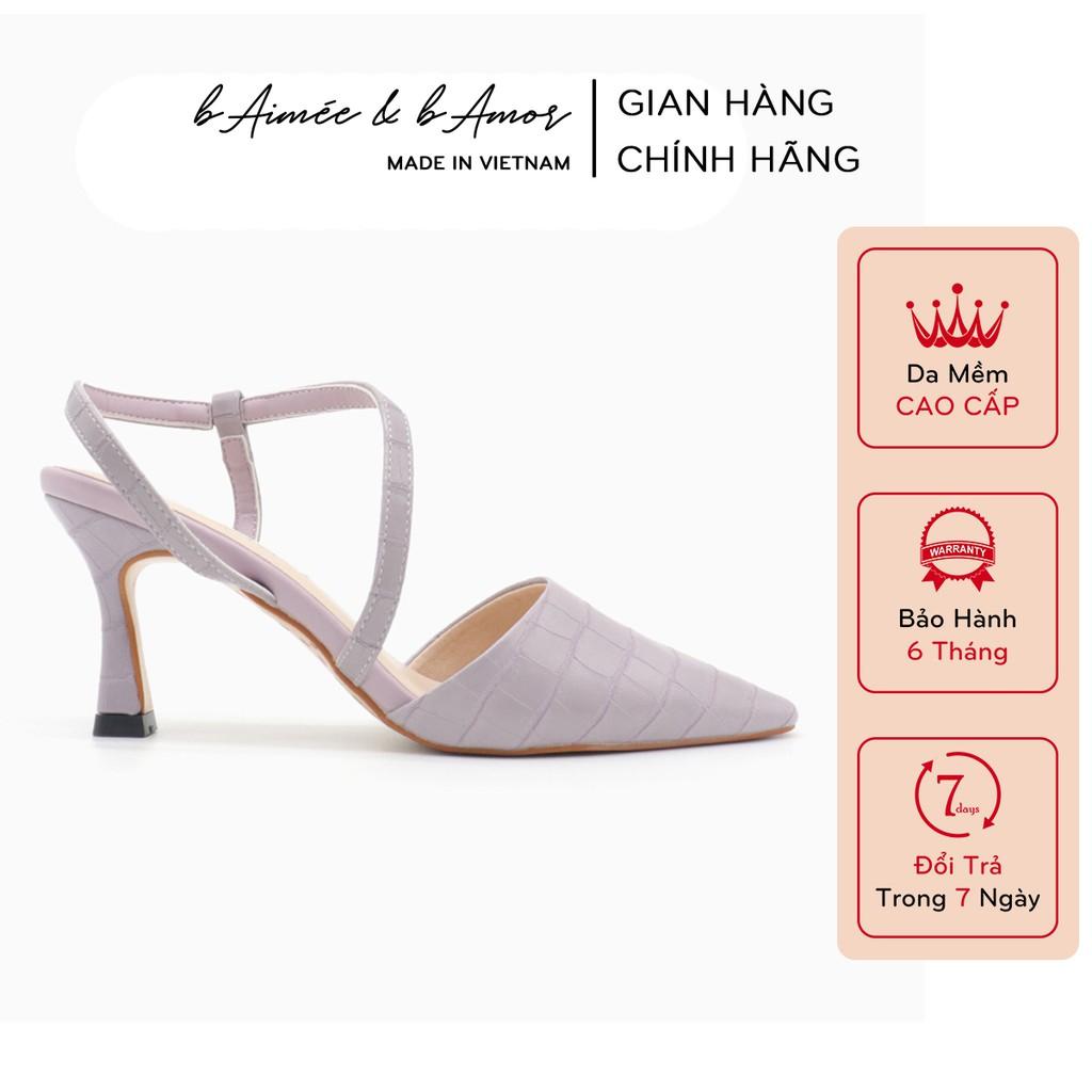 Giày cao gót nữ 7p mũi nhọn gót nhọn dáng sandal slingback bít mũi thời trang công sở đẹp bAimée & bAmor - MS1542