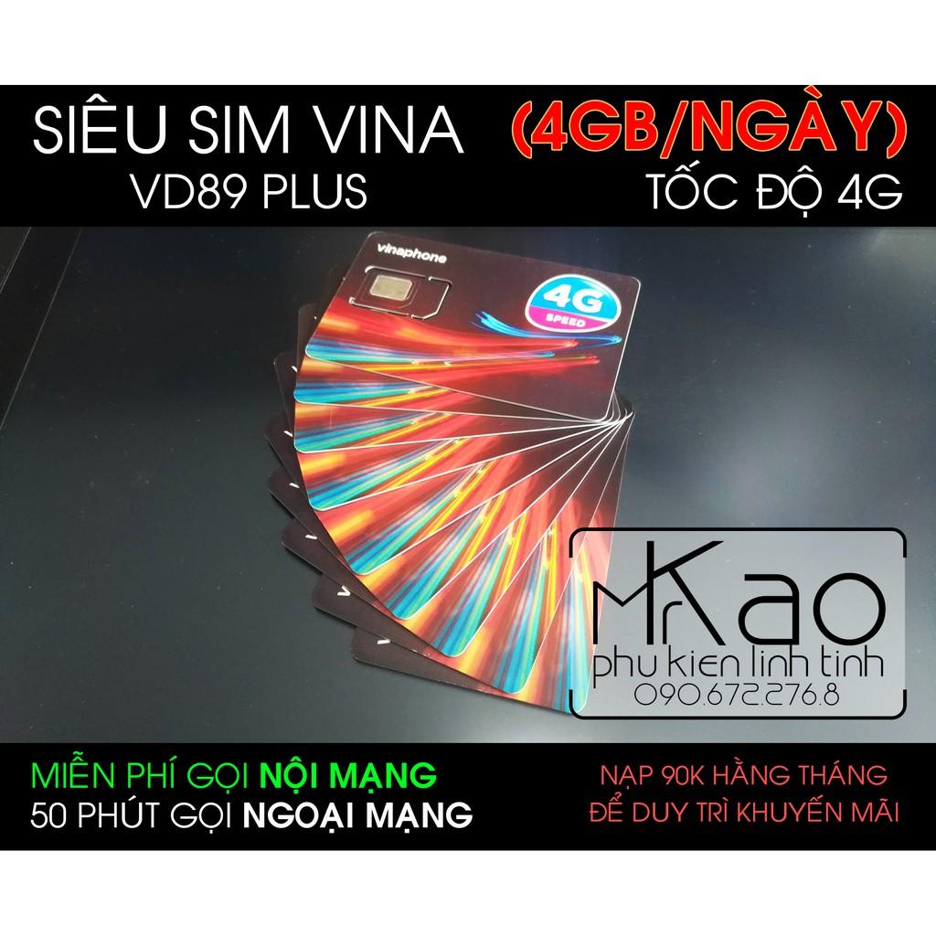Siêu Sim 4G Vinaphone VD89 PLUS 120GB/THÁNG (4GB/NGÀY) data tốc độ cao, miễn phí gọi nội mạng. Free