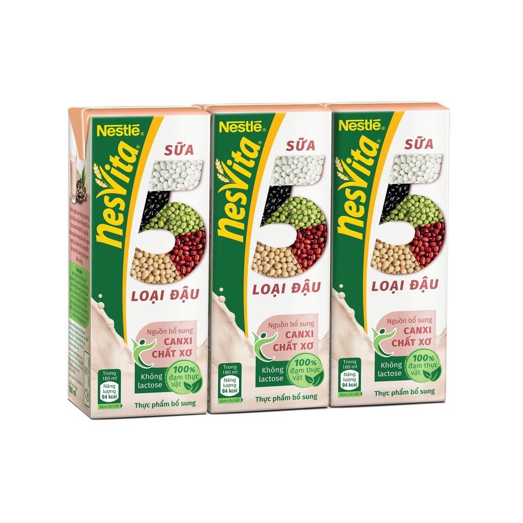 [Deal độc quyền] Lốc Sữa 5 loại đậu NESTLÉ NESVITA uống liền 3x180ml