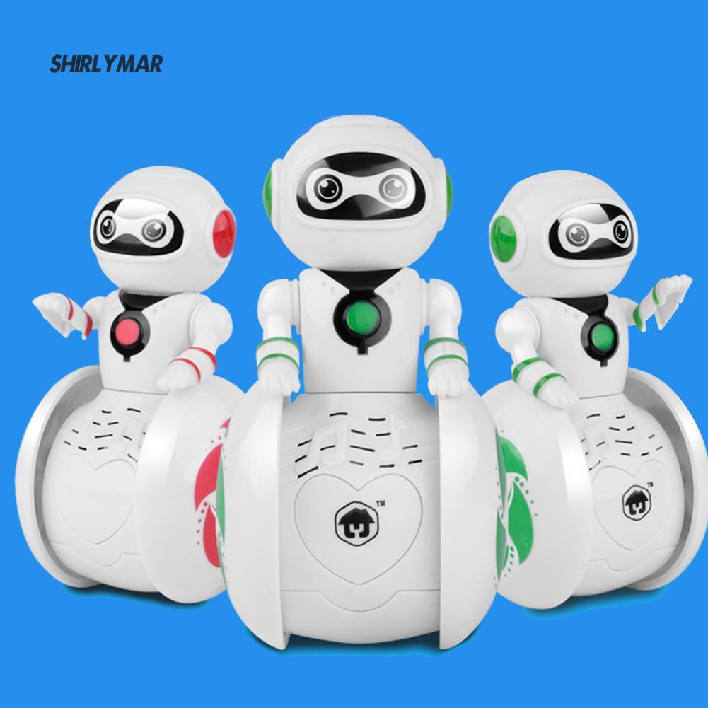 ஐSr Kid Children Plastic Cartoon Tumbler Intelligent Light Sound Music Robot Toy