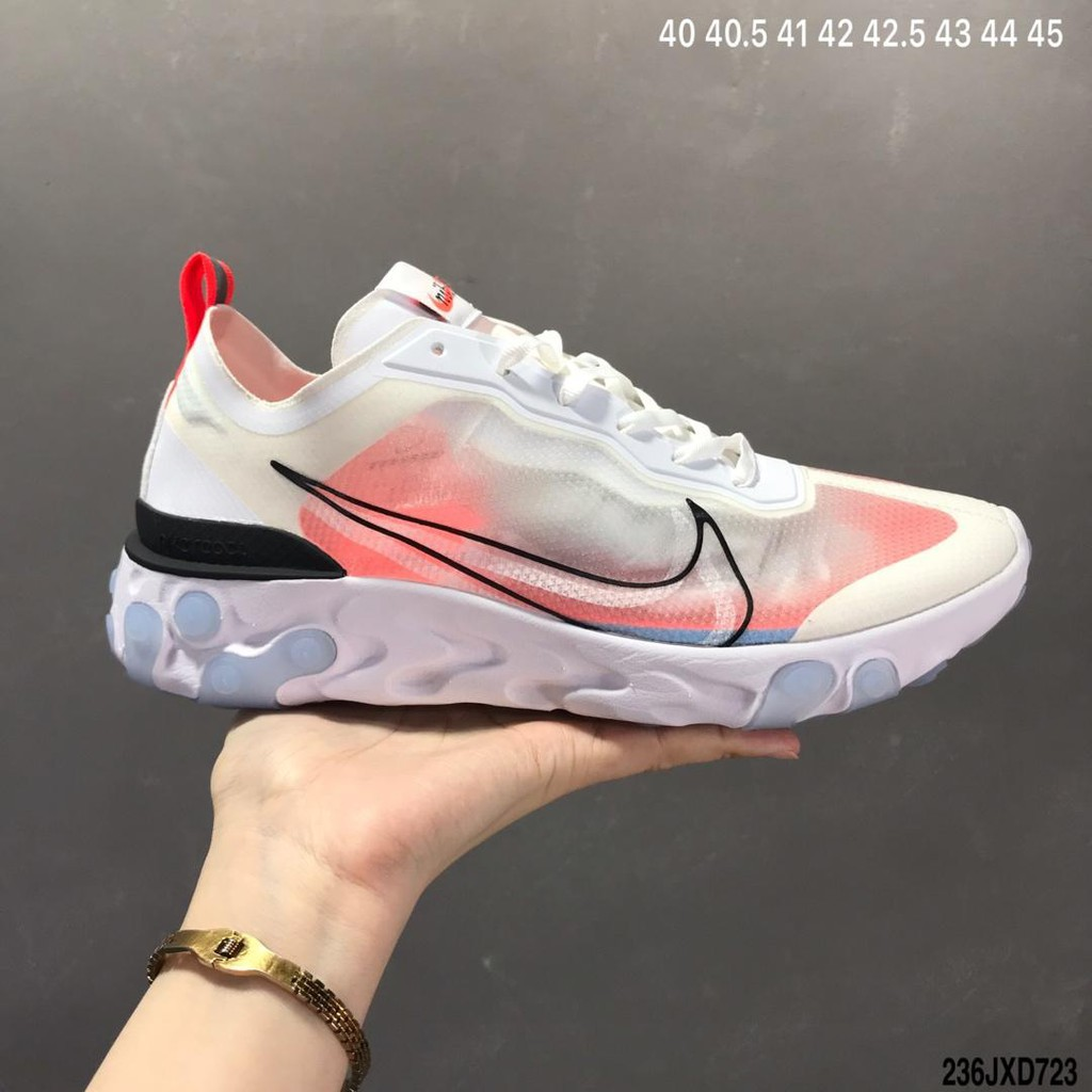 Nike Epic React Element 87 รองเท้าลำลองสำหรับบุรุษและสตรีรองเท้าผ้าใบ -D2