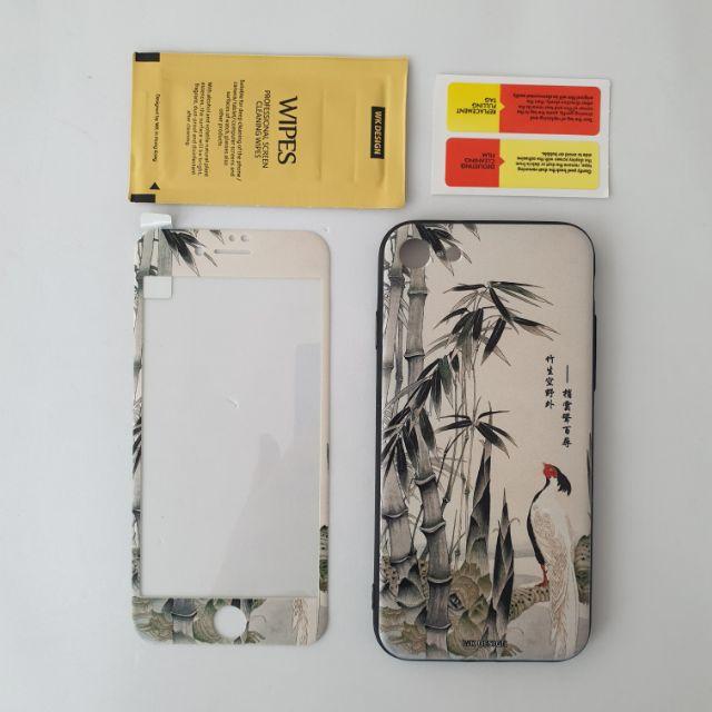 Kính cường lực full màn 3D WK hoa văn, độ cứng 9H dành cho iphone 6,iphone6s,iphone 7,iphone8 tặng kèm ốp chống sốc