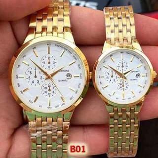 Đồng hồ đôi đeo tay nam nữ chính hãng Baishuns dây kim loại chống nước thời trang giá rẻ thumbnail