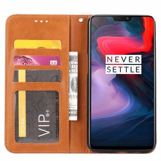 NEWCAPAS For Oneplus 6 Flip PU Leather + PC Case With Card Slot