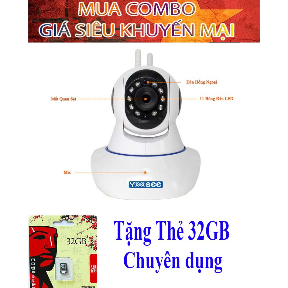 Camera giám sát không dây Yoosee tặng kèm thẻ nhớ 32 GB