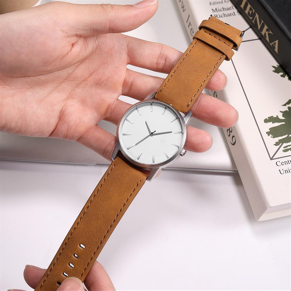 Đồng hồ nam thời trang AKS01 dây da mềm, kiểu dáng quân đội thể thao, giản dị