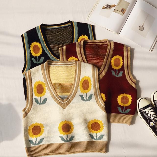 Sleeveless sweater women's sunflower pattern V-neck