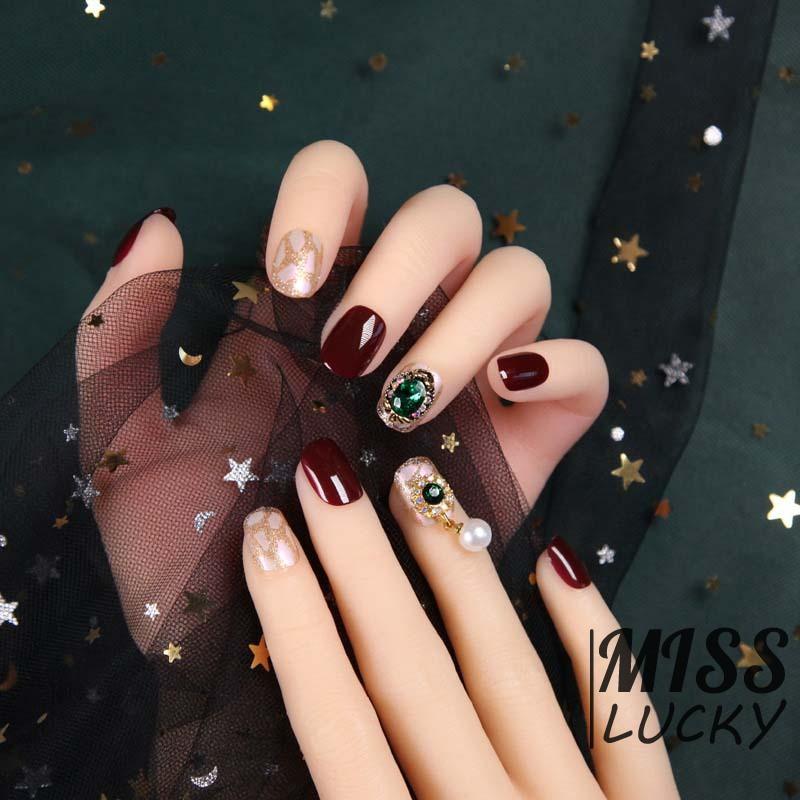 ❤HHN-VN 24pcs Shiny False Nails Wine Red with Green Diamond Rhinestone Nail Charming Shining Phototh