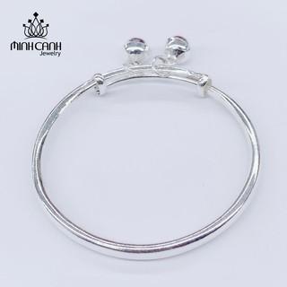 Lắc Bạc Trẻ Em Dạng Trơn Điều Chỉnh Size 2 Chuông Bạc - Minh Canh Jewelry