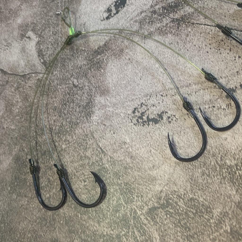 Lưỡi câu chùm nho 4-6-8 lưỡi số 16 lưỡi đen cước xanh cực chắc -Lưỡi chùm nho câu cá tra, cá chim - Tóm lưỡi chùm câu cá