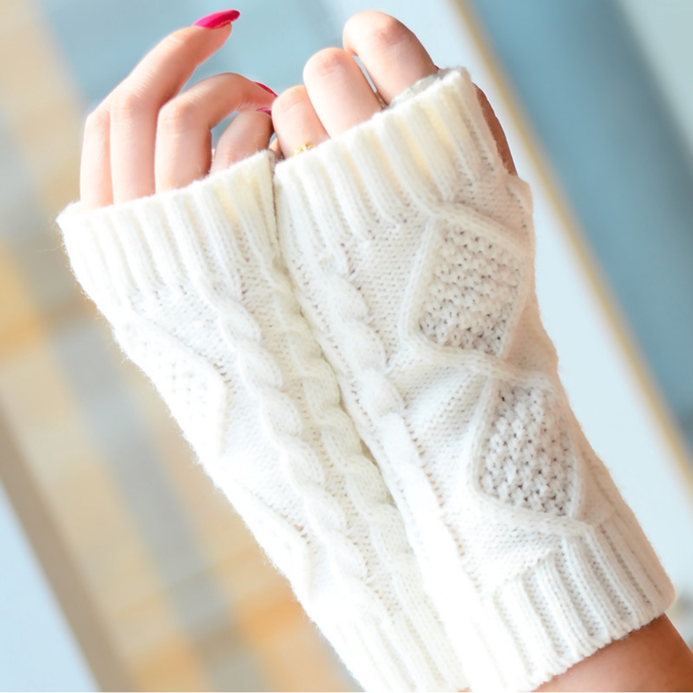 Women Mittens Half Finger Warm Solid Soft Knitted Diamond Jacquard Winter Gloves Casual Hand Protection 1 Pair