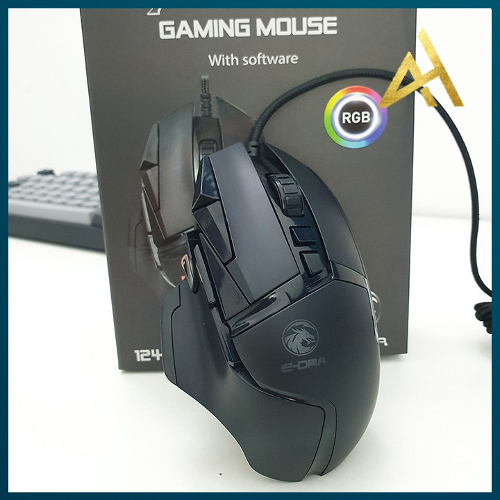 Chuột Máy Vi Tính Laptop Mouse Chơi Game E-DRA EM6502 Đèn LED 7 Màu - Chuột Gaming Có Dây Chuyên Game