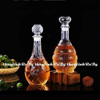 Bộ 2 bình rượu thủy tinh ngâm sâm, Vỏ chai rượu kiểu ngâm sâm, vỏ chai xo
