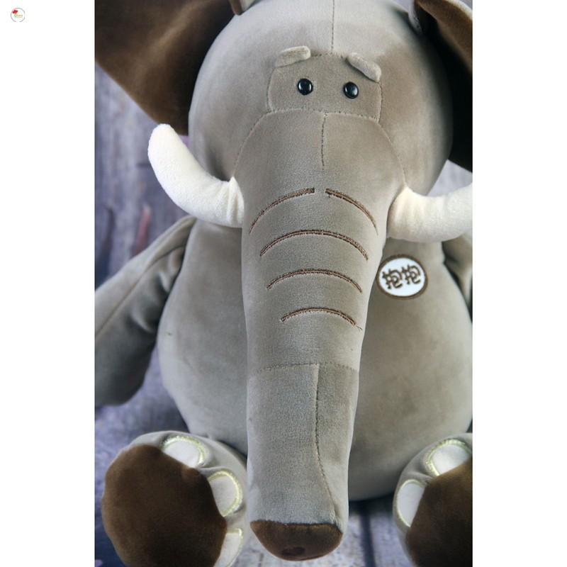 [DOWN]Gấu bông voi ma mút xám tai nâu chất liệu bông cao cấp