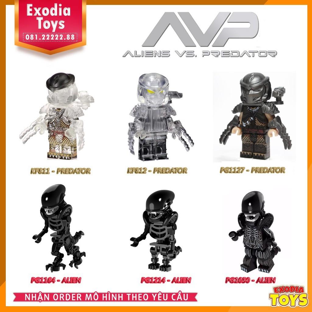 Bộ 6 minifigure Quái Vật Không Gian Alien vs Quái Thú Vô Hình Predator | Alien Versus Predator
