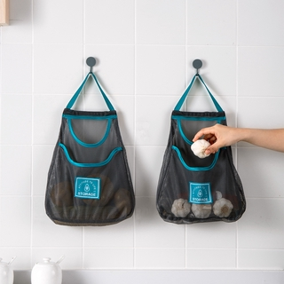 Home-home fruit and vegetable storage hanging bag kitchen multifunctional wall-mounted ginger garlic onion mesh bag breathable storage bag