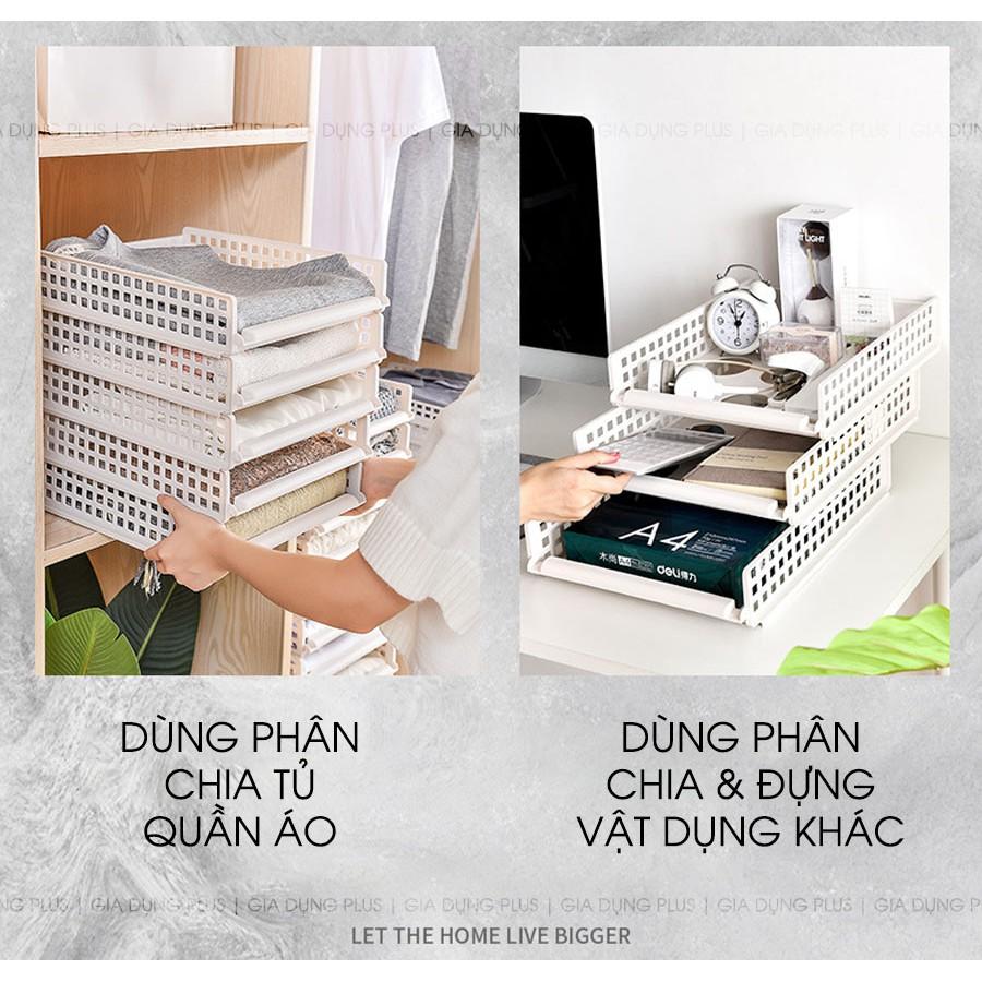 Khay xếp quần áo ngăn kéo, xếp chồng giúp gọn gàng tủ quần áo cho người lười
