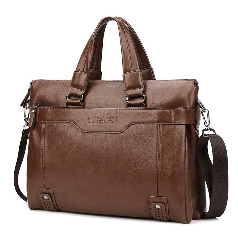 Túi xách cặp da đựng laptop LEINASEN 39x30x10 cm (Nâu đậm-Nâu sáng-Đen)