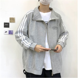 Men's and women's fashion zipper jacket cardigan sweater men's spring and autumn new loose sports style boy jacket Korean style trend student casual all-match outerwear