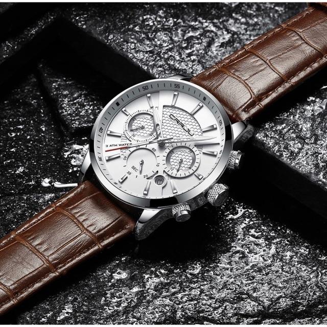 CRRJU นาฬิกาแฟชั่นผู้ชายควอตซ์ Analog 30M Chronograph Sport
