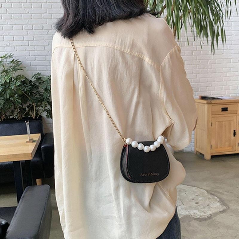 Túi Đeo Vai Phối Dây Ngọc Trai thiết kế Phong Cách Hàn Quốc Thời Trang