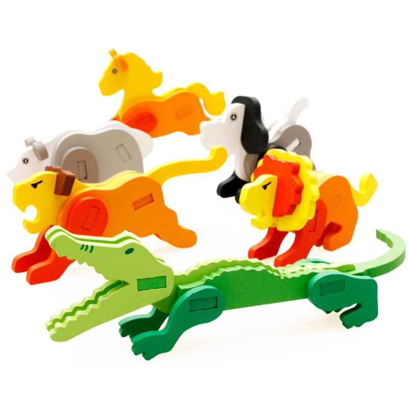 Children Wooden 3D Puzzle Toy Animal Model Educational Block Toy Gift