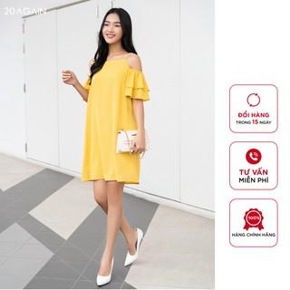 Đầm suông phối tay bèo 2 tầng 20AGAIN DXW0313 thiết kế công sở trẻ trung màu vàng thumbnail