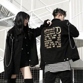 Áo khoác jean nam tay phối dây xích unisex thời trang 2020