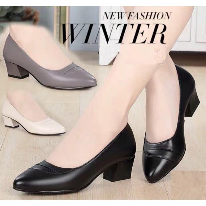 Hàng VNXK_M16_Giày cao gót nữ công sở da lì 4cm siêu mềm ê