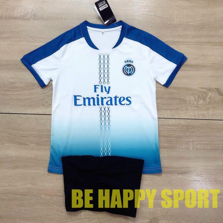 Quần Áo Trẻ Em Real Madrid Trắng Xanh Quần Đen Trẻ Trung Hè 2021 - Bộ Thể Thao Trẻ Em PP Bởi Be Happy Sport