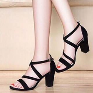 [Mã FASHIONGREEN94 giảm 10% tối đa 30k đơn từ 99k] [ẢNH THẬT] Giày cao gót sandal 7 phân 2 dây chéo __LZ009 thumbnail