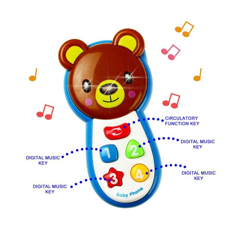 Đồ chơi điện thoại hình thú phát nhạc cho bé