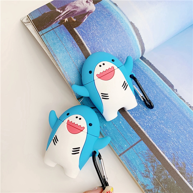 3D Cute  Shark Popular AirPods 1 2 Case Silicone Case Cartoon  Drop Protection