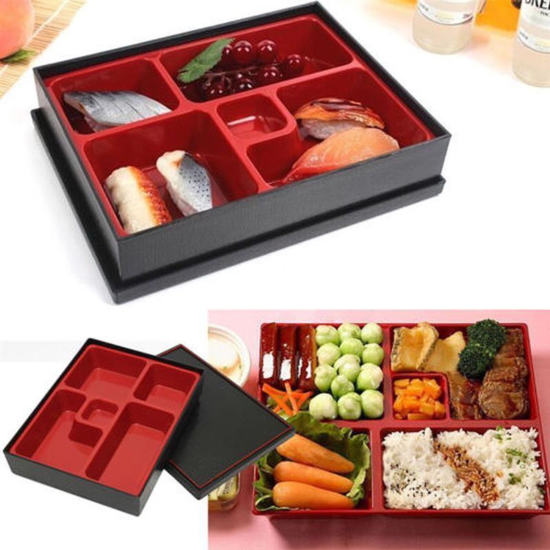 Hộp đựng cơm BENTO nhựa đựng cơm phần 4 ngăn màu đỏ đen kiểu Nhật Bản
