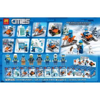 Đồ chơi lắp ráp lego city xe trượt tuyết Lele 28025 trọn bộ 8 hộp.