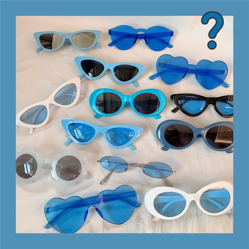Blue European And American Retro Cat-Eye Thunderbolt Sunglasses Sand Sculpture Bungee Glasses Photo Couple Triangle Roun