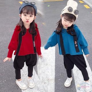 Bộ áo dài tay có mũ và quần dài bo gấu đáng yêu cho bé gái