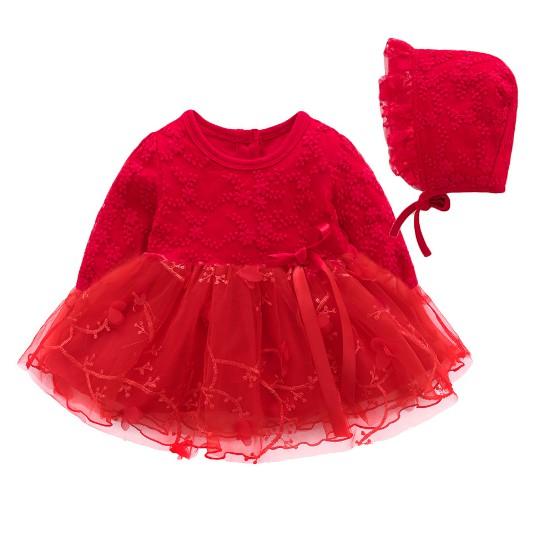 Váy dài tay thêu hoa kèm mũ cho bé