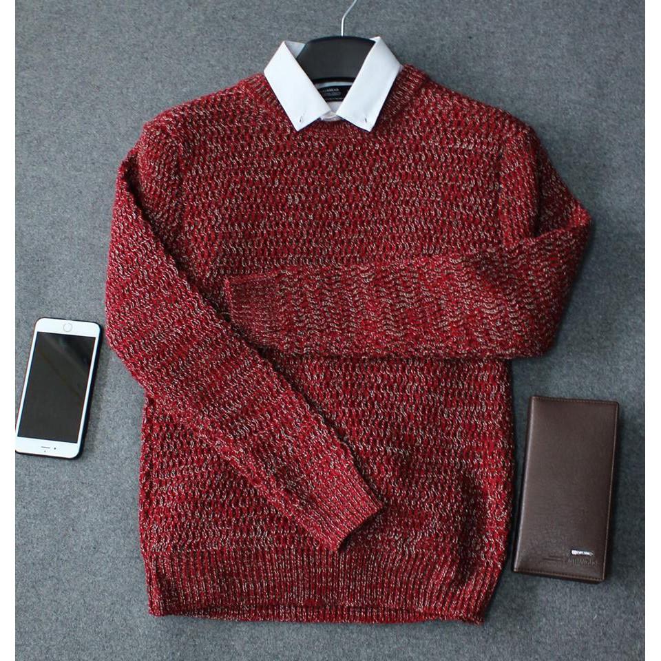 Áo len tiêu cao cấp nam màu đỏ đô - Áo len tiêu cao cấp nam màu đỏ đô