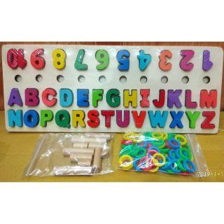 Bảng ghép chữ, ghép số Nổi và xếp vòng 10 cọc cao thấp nhận biết thông minh an toàn cho bé