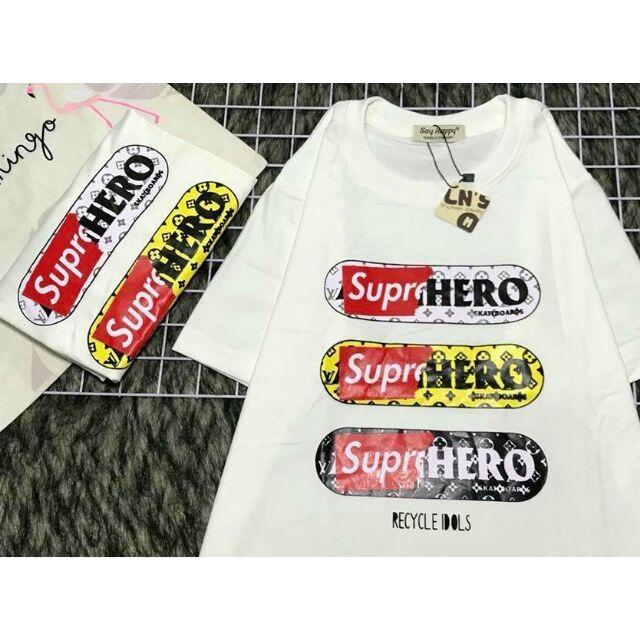 Áo thun cotton tay lỡ in họa tiết chữ Super Hero