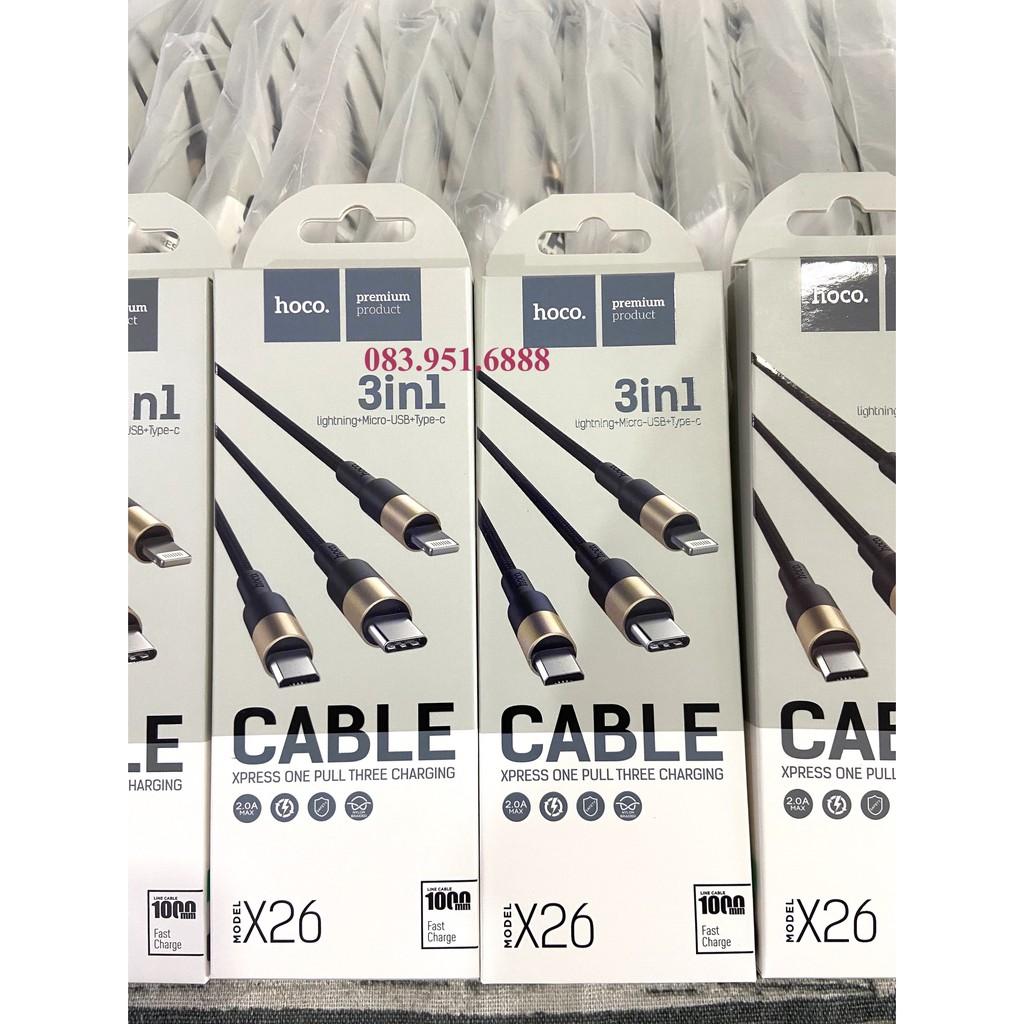 Cáp 3 in 1 Lightning, Type-C, Micro USB Dây Dù Siêu Bền Hoco U31 - Hàng Chính Hãng