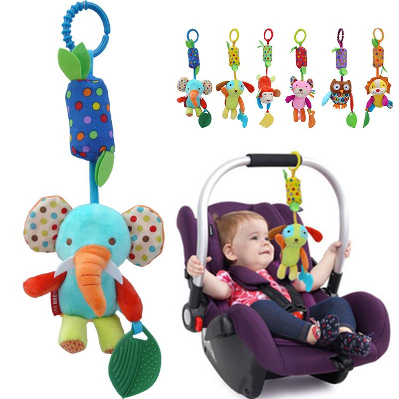 BF*33cm Baby Wind Chimes Teether Plush Toys Animal Clip Stroller Hanging Toys