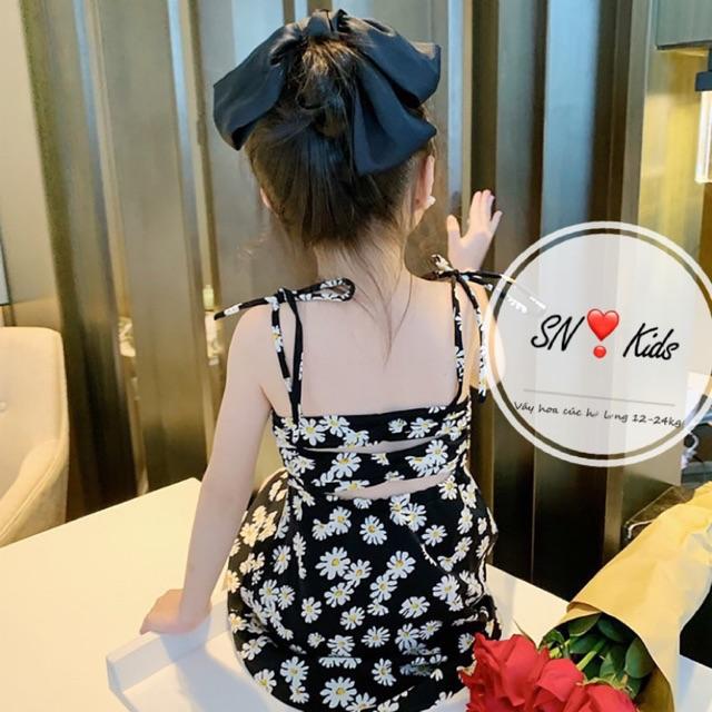 Váy 2 dây hoa cúc lụa hàn cho bé gái