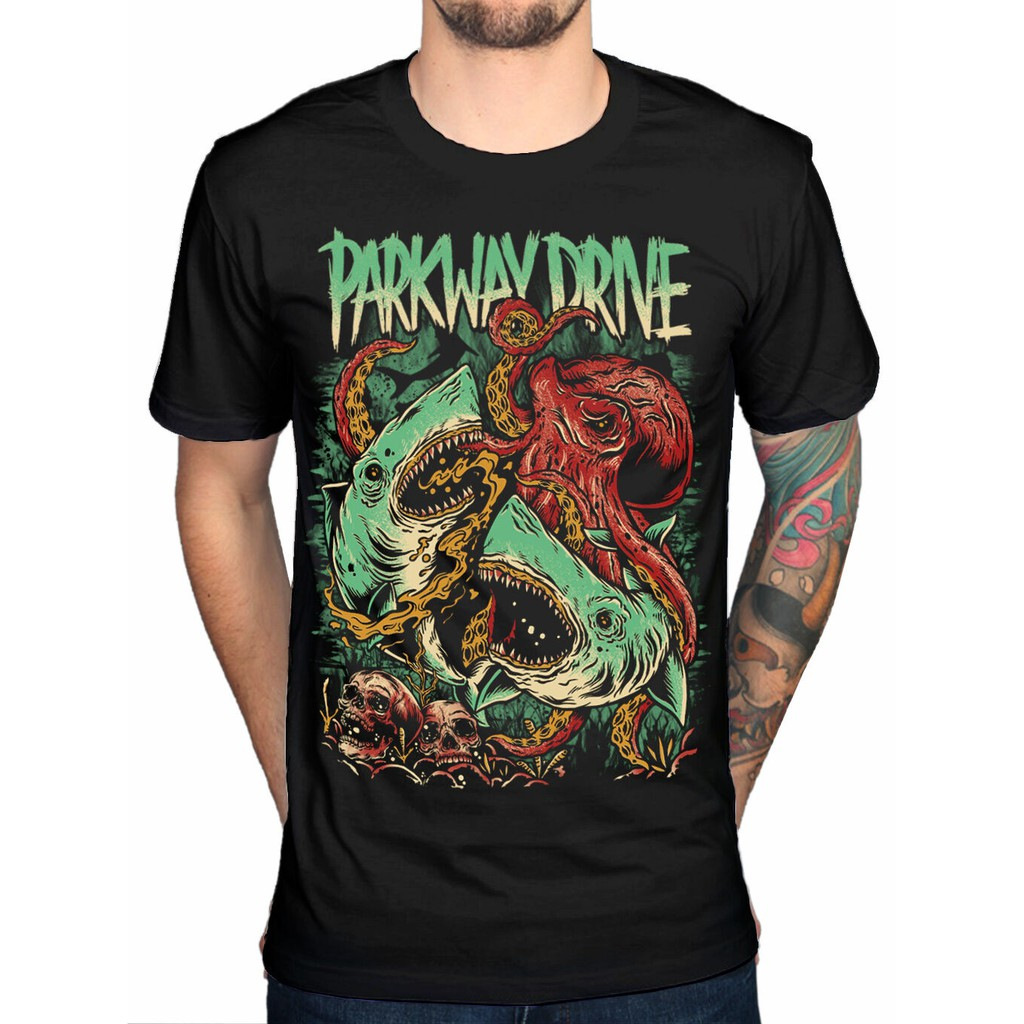 Parkway Drive Sharktapuss Band Merch Metalcore 50 Lions 100% Cotton Men